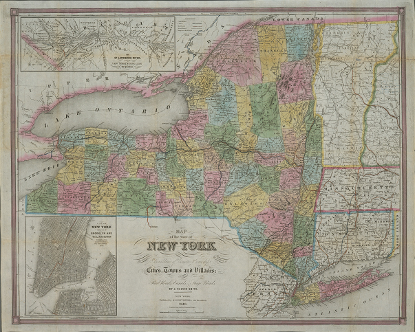Color image of J. Calvin Smith's Map of the State of New York, 1848, from NYPL's Digital Collections