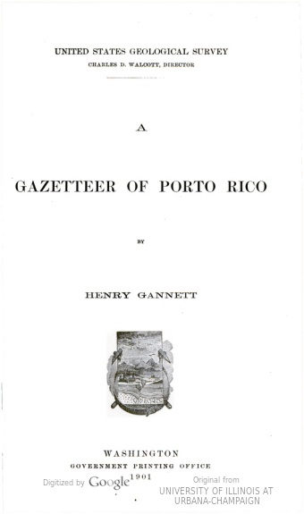 Image of title page of a 1901 gazetteer of Puerto Rico