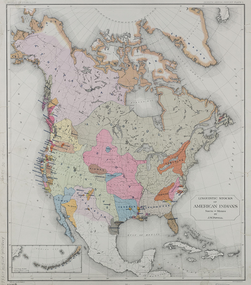 Color image of NYPL Digital Collections map of linguistic areas of North America's Native Americans, 1891