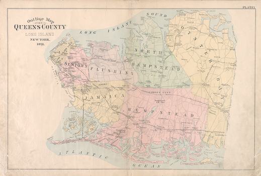Color map of Queens County, showing its towns, from the beginning of a detailed atlas of the county, published in 1891 when Queens included what is now Nassau County as well as Queens Borough