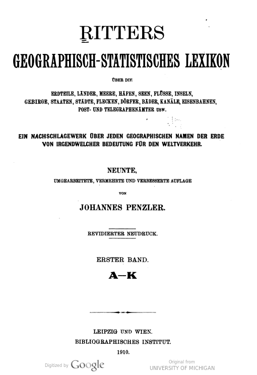 Image of title page of Ritters Geographisch-Statistisches Lexikon world gazetteer, 1910