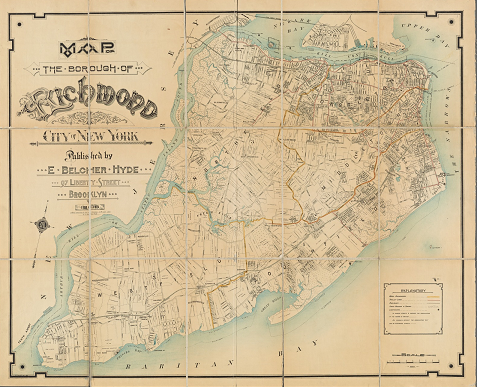 Map of the Borough of Richmond, now Staten Island, showing town and neighborhood names, the rapid transit line, and the names of property owners in the less developed part of the borough