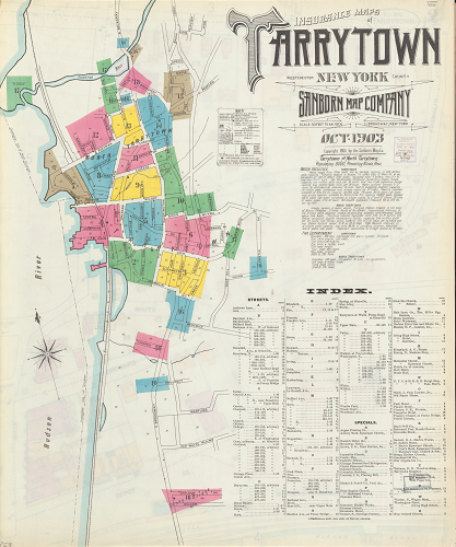 NYPL Digital Collections color image of an index map for the Sanborn Map Company's 1903 Insurance Maps of Tarrytown, New York