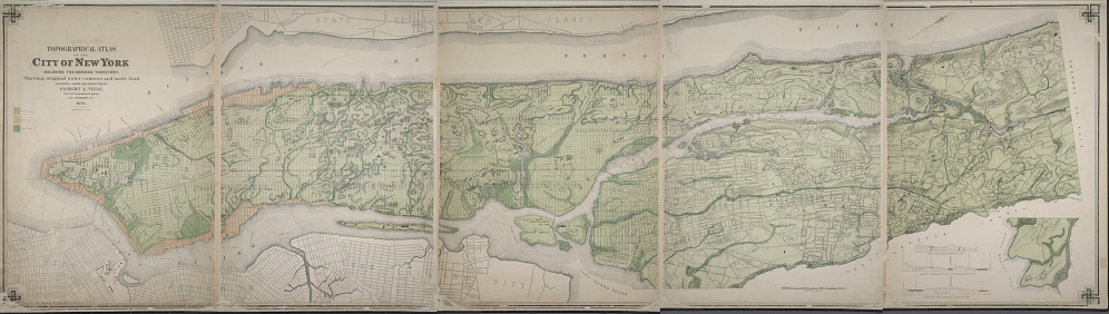 Example of a map image from NYPL's Digital Collection, in this case, the Viele 1874 map of original water courses in New York City