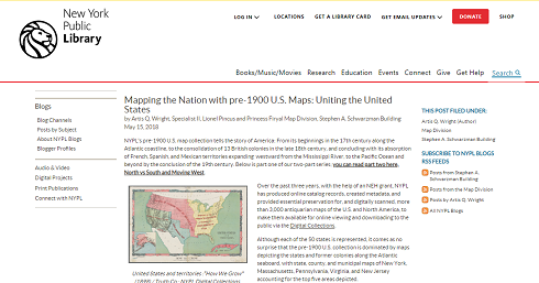 Image of the beginning of an NYPL blog post regarding pre-1900 maps of the United States