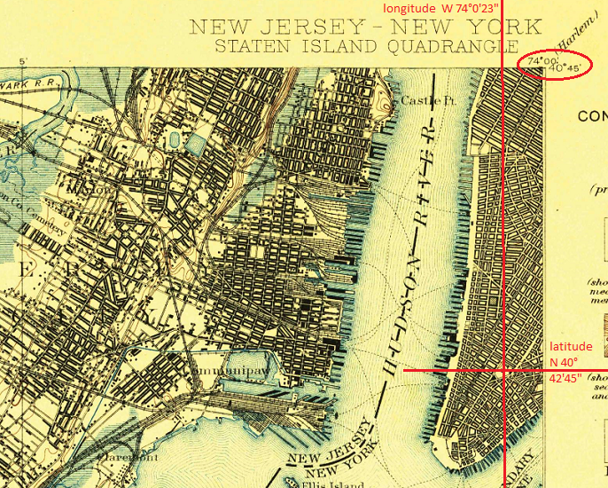 Image of corner of a U.S. Geological Survey map covering lower Manhattan, showing intersection of latitude and longitude lines to indicate location of City Hall.