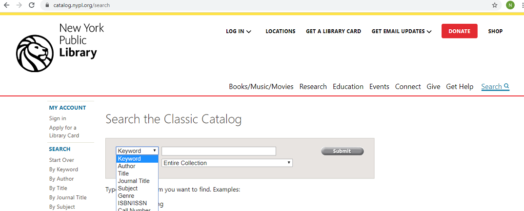 Image of landing page/basic search page of NYPL's online catalog, known as both the Classic Catalog and the Research Catalog