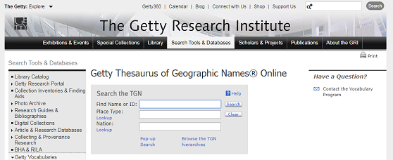 Static image of the search page with search boxes for the Getty Thesaurus of Geographic Names Online