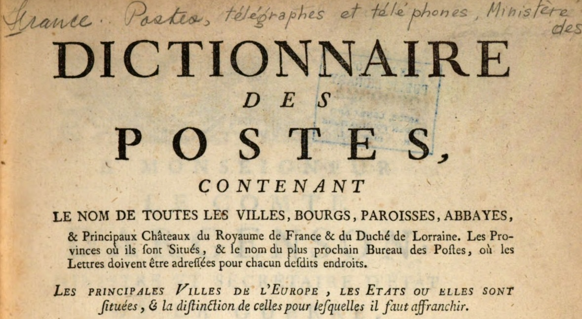 Image of upper part of the title page of a postal directory from 1754, showing the title.