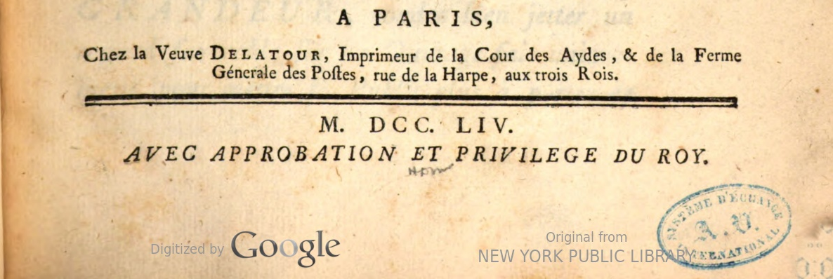 Image of lower part of the title page of the 1754 postal directory, showing place (Paris) and year of publication.