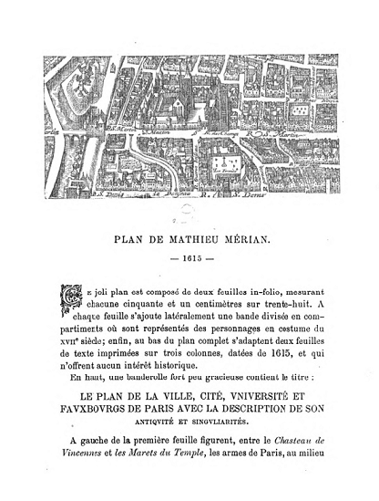 Image of a page from the book, Les Anciens Plans de Paris, showing part of a map of Paris from 1615 by Mathieu Merian, available remotely via HathiTrust