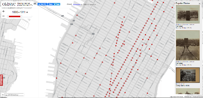 Image from OldNYC, the map-based online discovery tool for NYC photographs in NYPL's Digital Collections