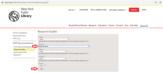 Image of page from which you can select categories of NYPL Research Guides