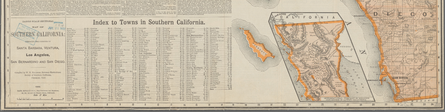 Image of portion of an 1888 Rand McNally map of southern California, showing its index to towns.
