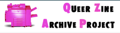 """A logo with a pink-colored copy machine, and the words """"Queer Zine Archive Project"""" in bright pink and black"""