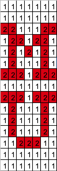 A grid 7 columns wide and 15 rows high, with numbers 1 and 2 representing the colors white and red.