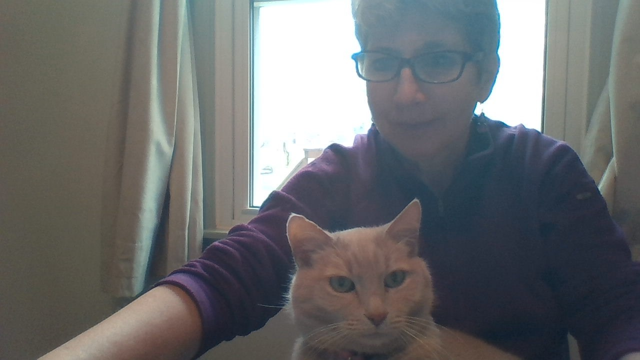 Susan Hurst and her cat, Dusty