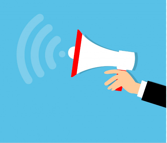 hand holding a megaphone with illustration showing noise