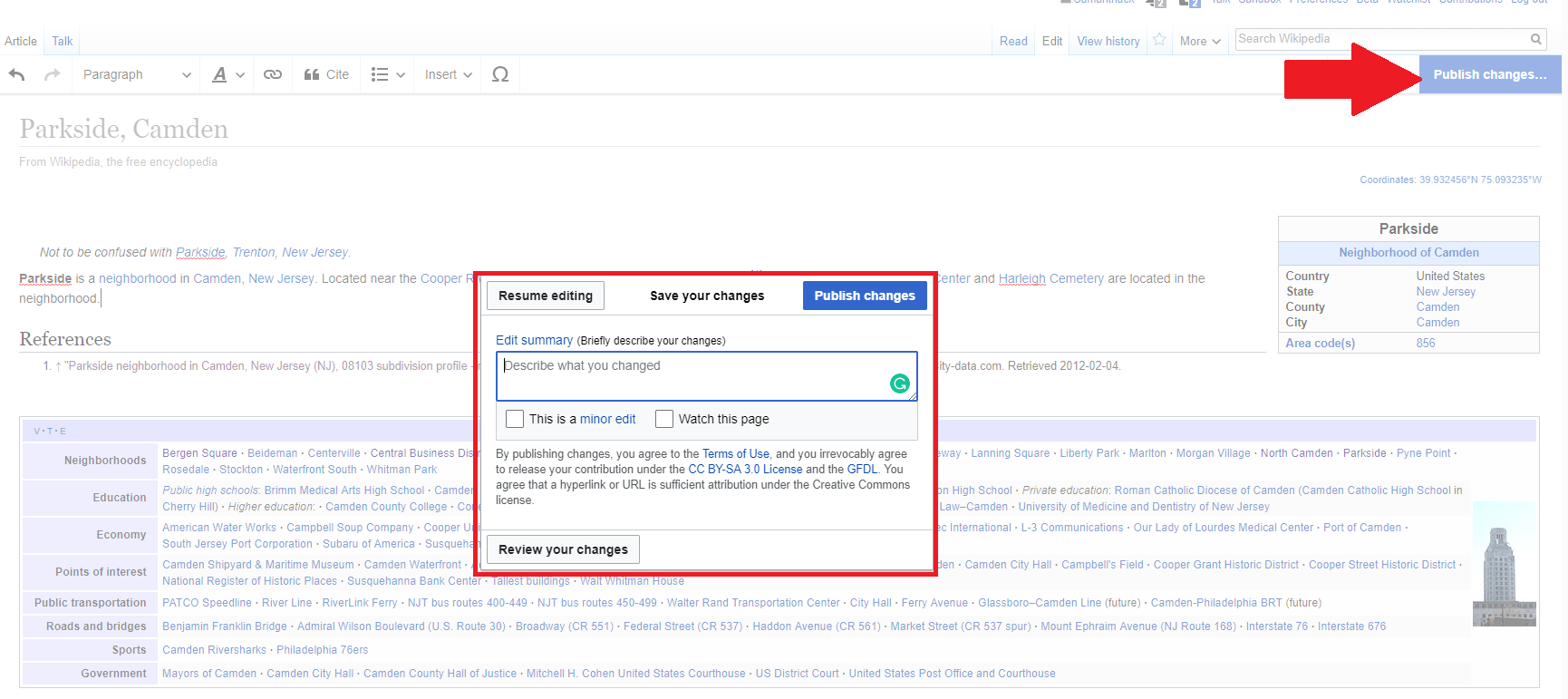 Wikipedia article with Document Changes menu box open