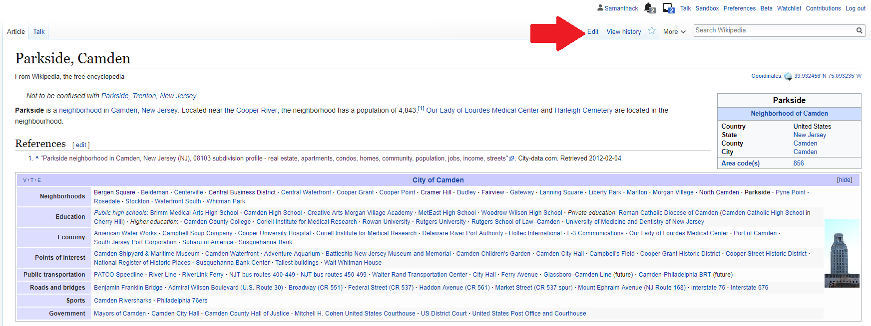 Wikipedia article with red arrow pointing to the edit button