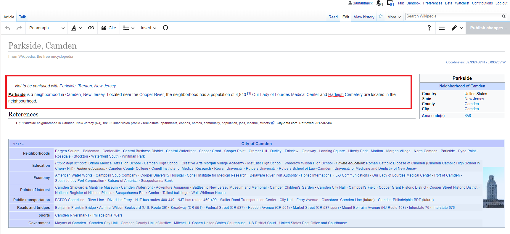 Wikipedia article with red box outlining the edit text section