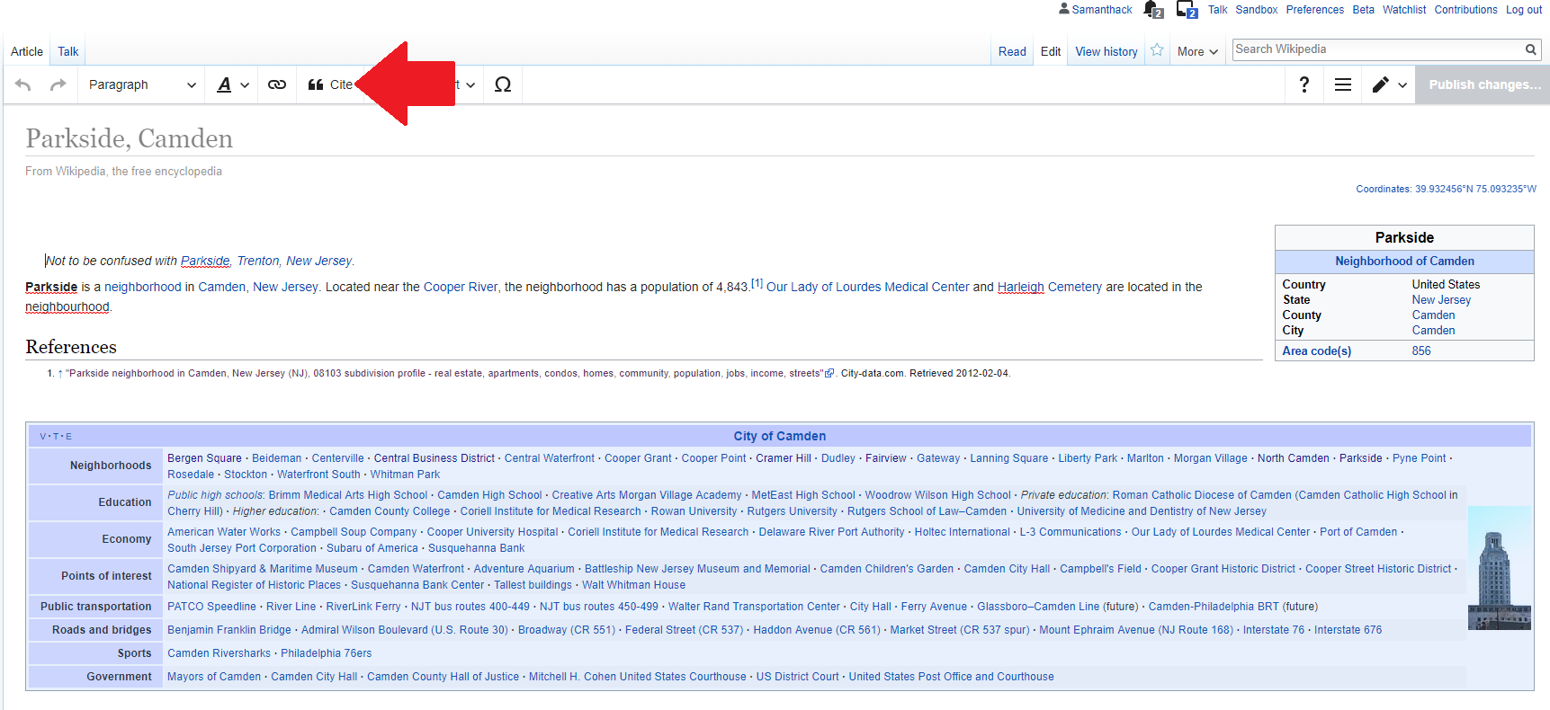 Wikipedia article with red arrow pointing to the Cite button