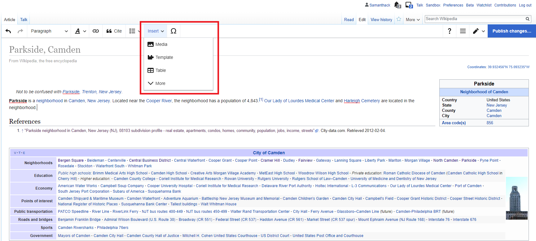 Wikipedia article with menu for adding media open