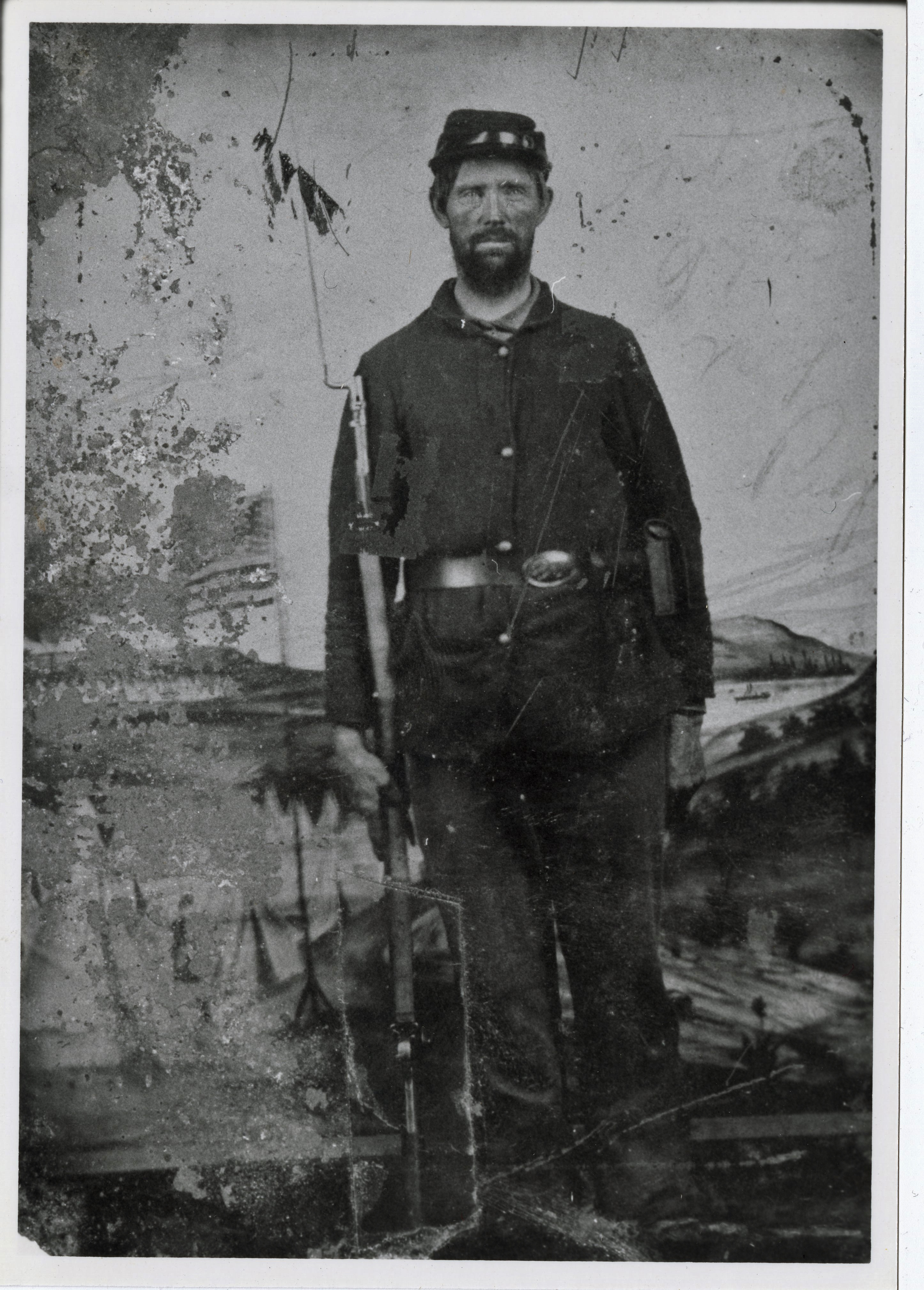 historic photograph of man in Civil War soldier uniform
