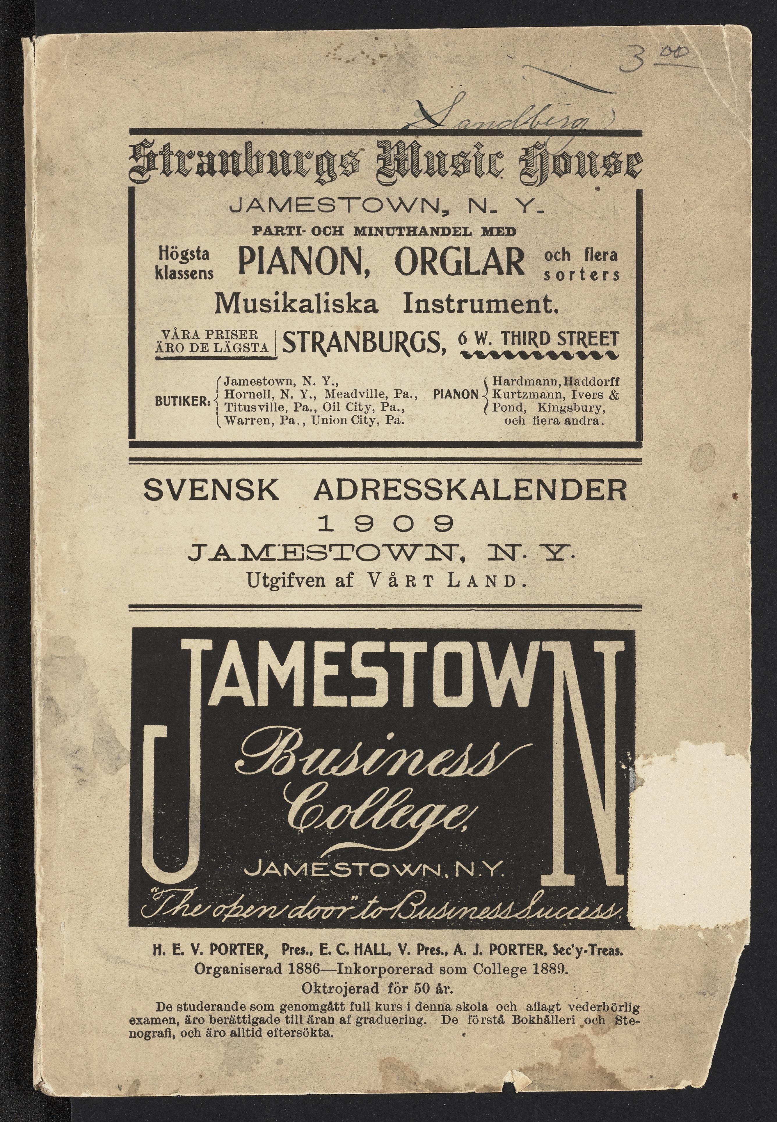 Swedish language directory of Jamestown, NY