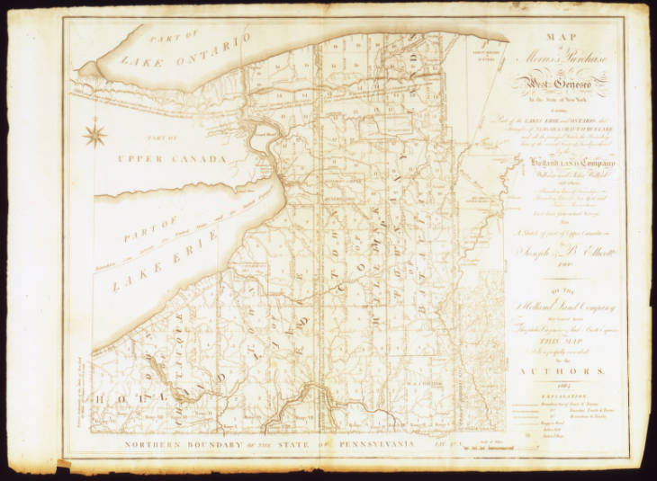 Historic hand-drawn map of the Western region of New York State, including what are now Chautauqua and Erie counties, from the Holland Land Company Maps digital collection