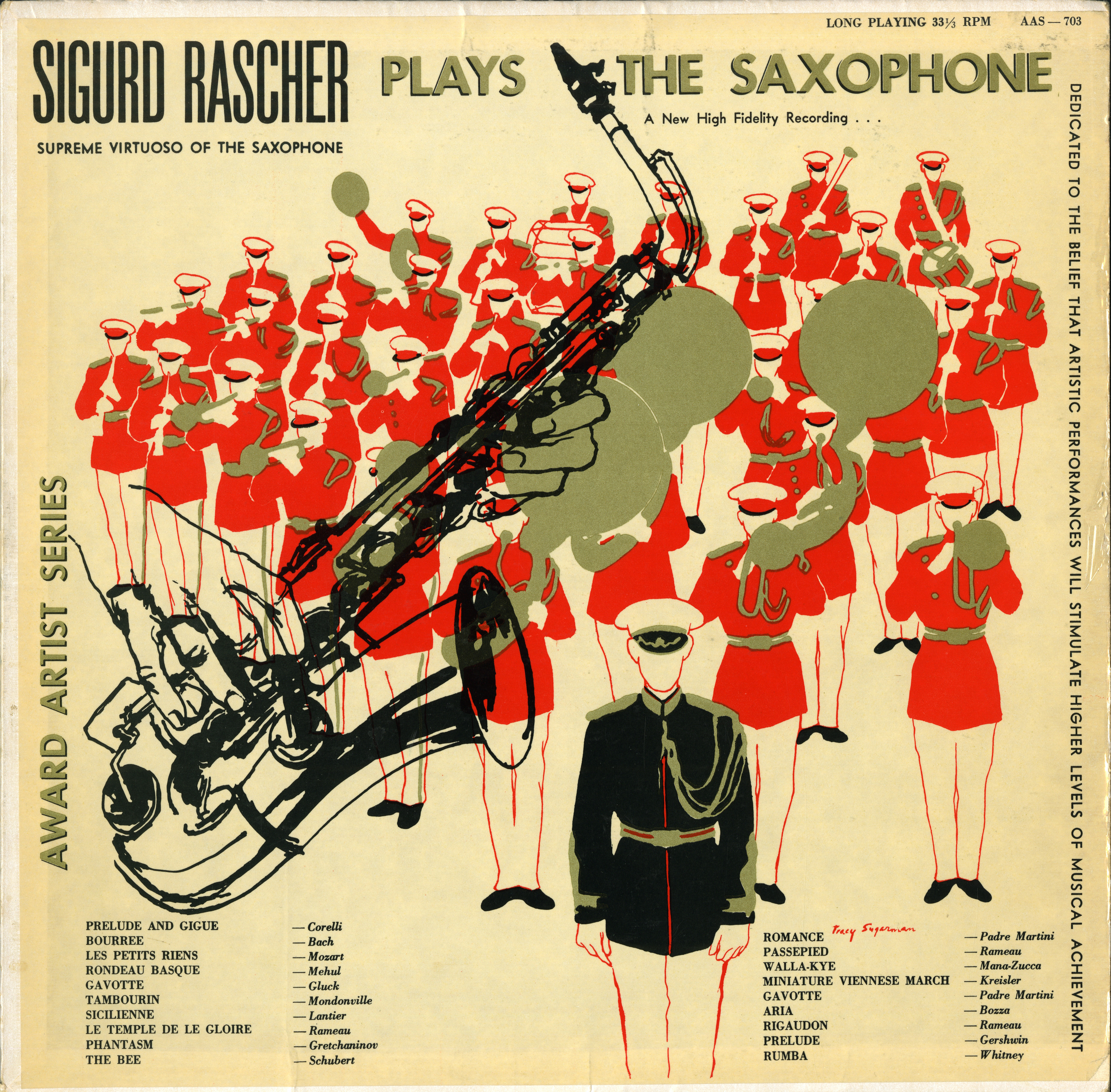 Sigurd Rascher album cover with drawings of saxophones