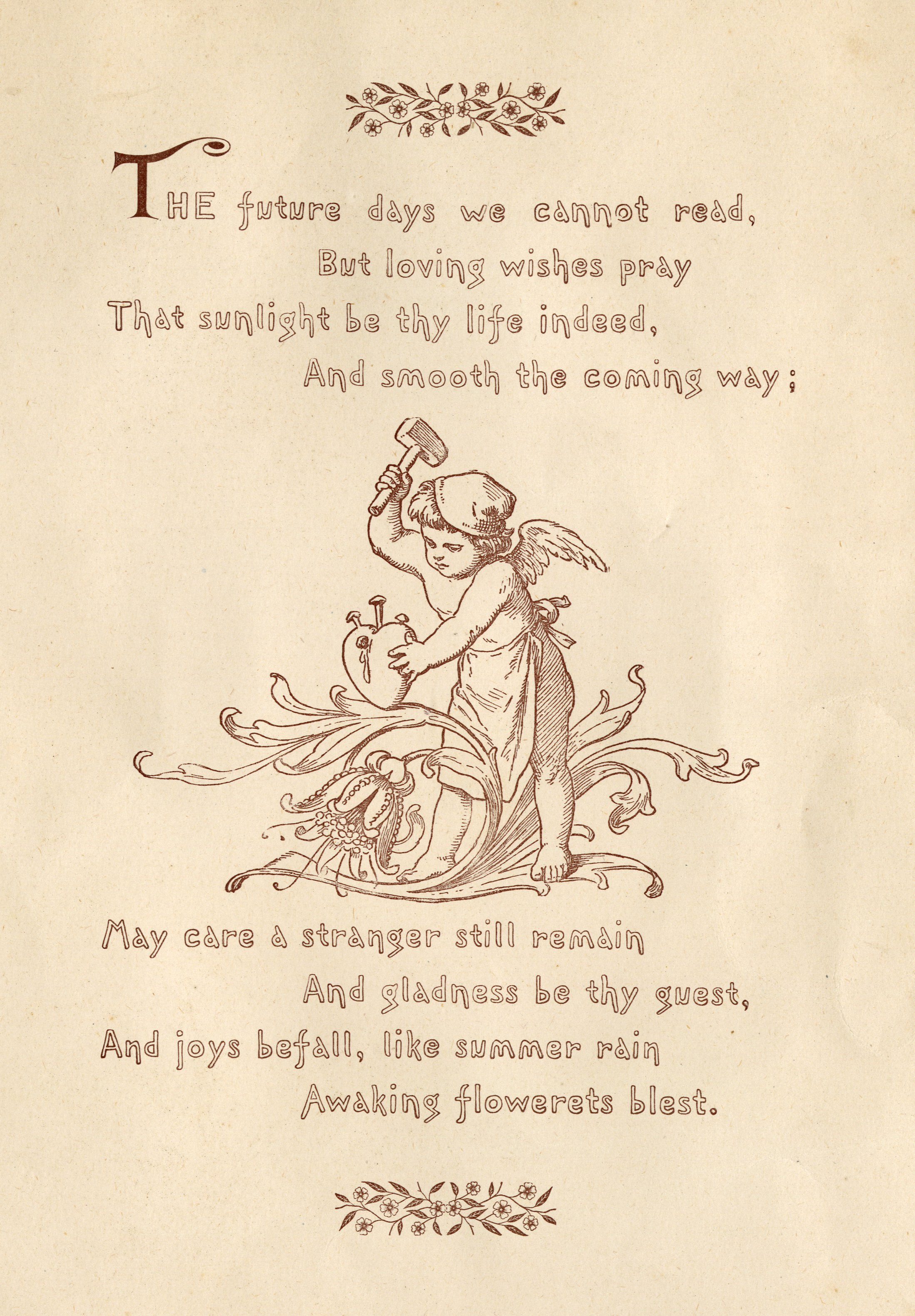drawing of Cupid hammering a heart surrounded by poem text