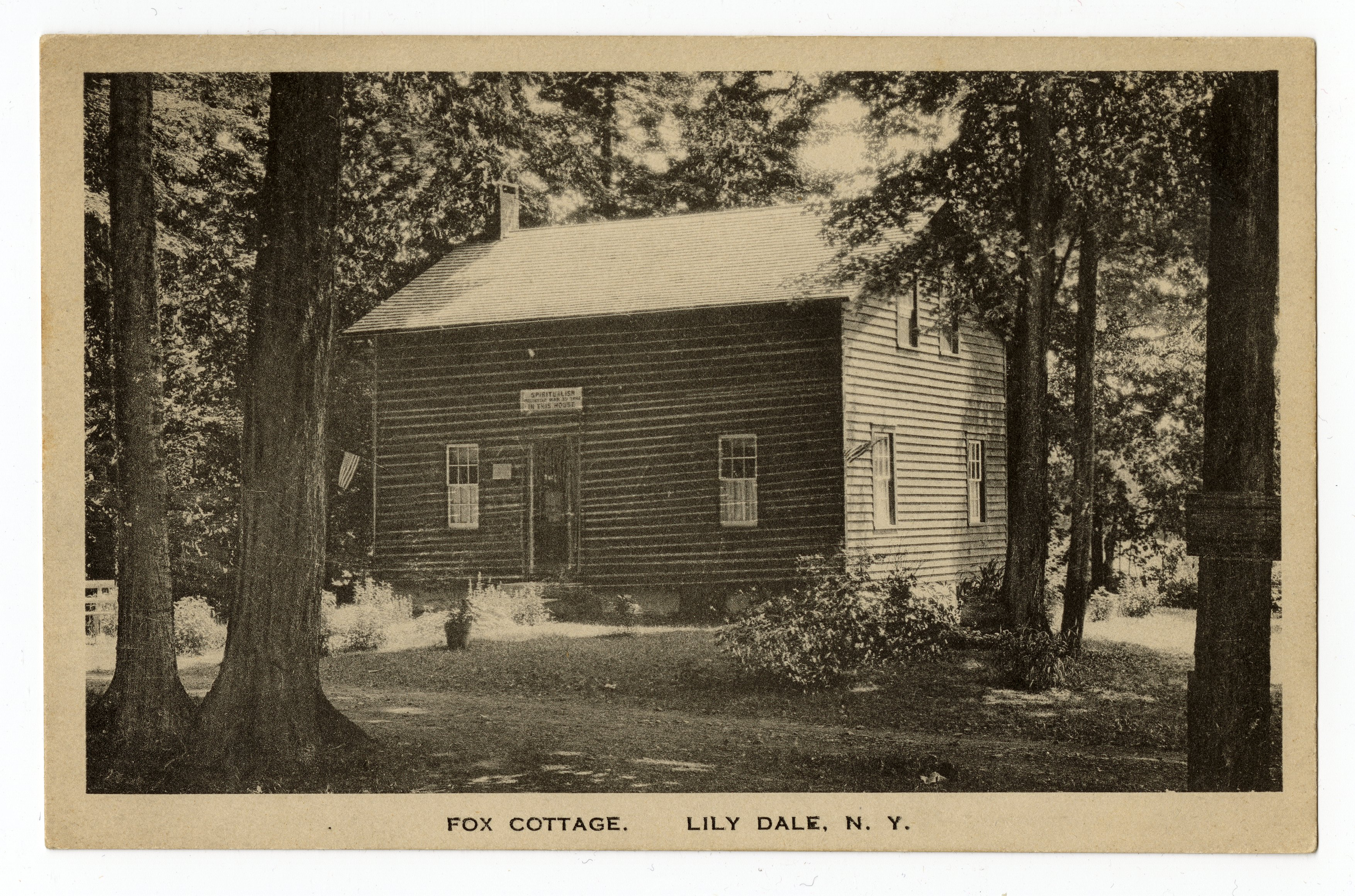 postcard image of a small cottage in the woods; hand-colored photograph