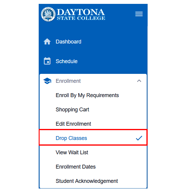 Dashboard with the Enrollment menu expanded on the left and Drop Classes highlighted