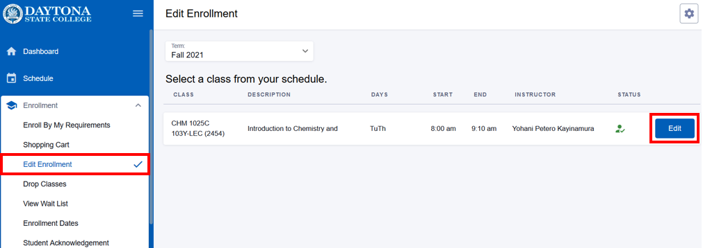 Edit enrollment screen with Edit button highlighted