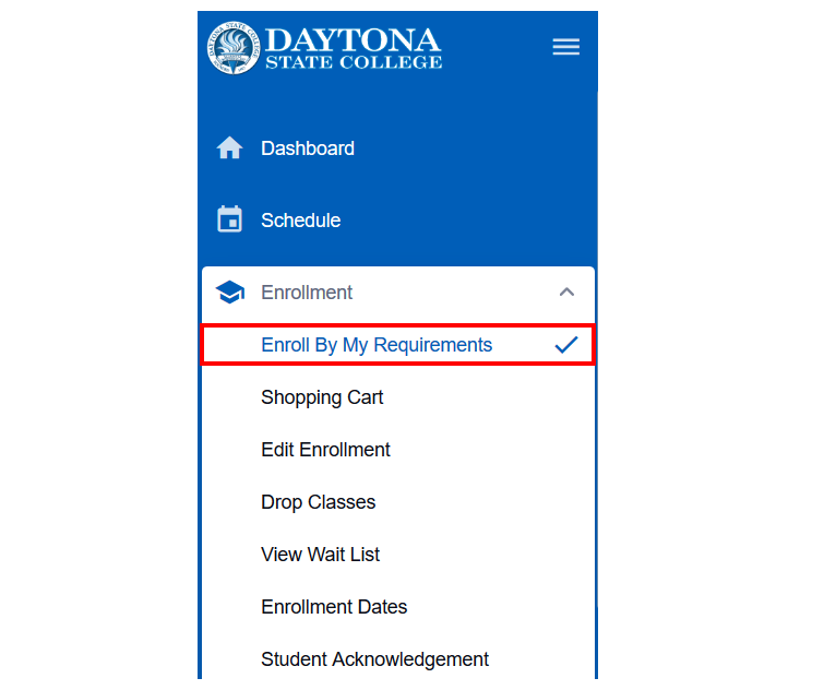 Student dashboard showing the Enrollment menu expanded and Enroll By My Requirements highlighted