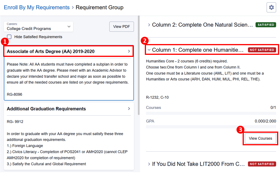 Enroll By My Requirements screen with degree, unsatisfied requirement and View Courses button highlighted