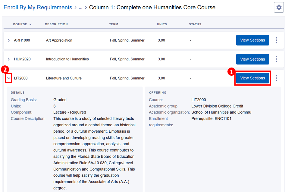 Enroll By My Requirements screen with degree, unsatisfied requirement, View Courses, View Sections button highlighted