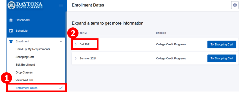 Enrollment dates menu with a term highlighted