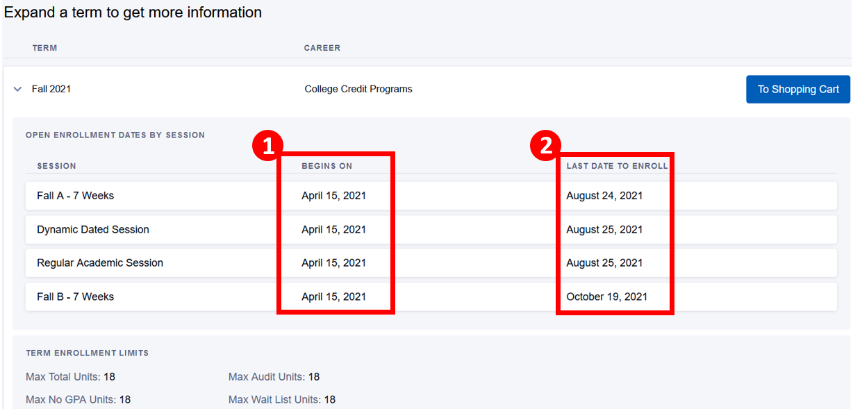 Expanded term with Begins On and Last Date to Enroll columns highlighted