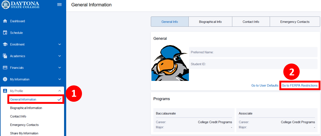 General Info screen with the FERPA Restrictions button highlighted