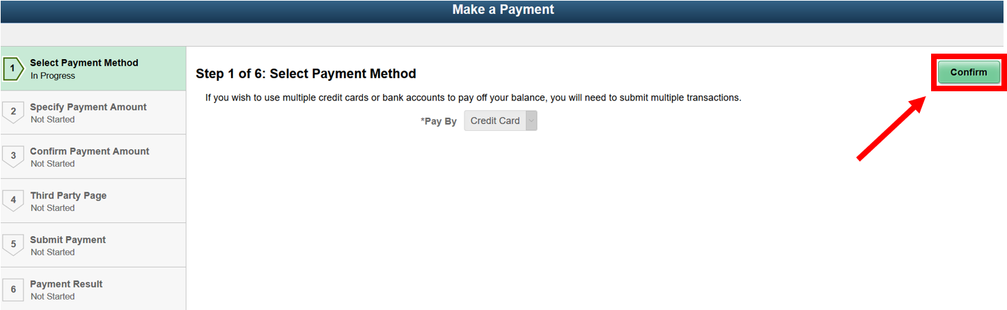 Make a payment screen with the confirm button highlighted