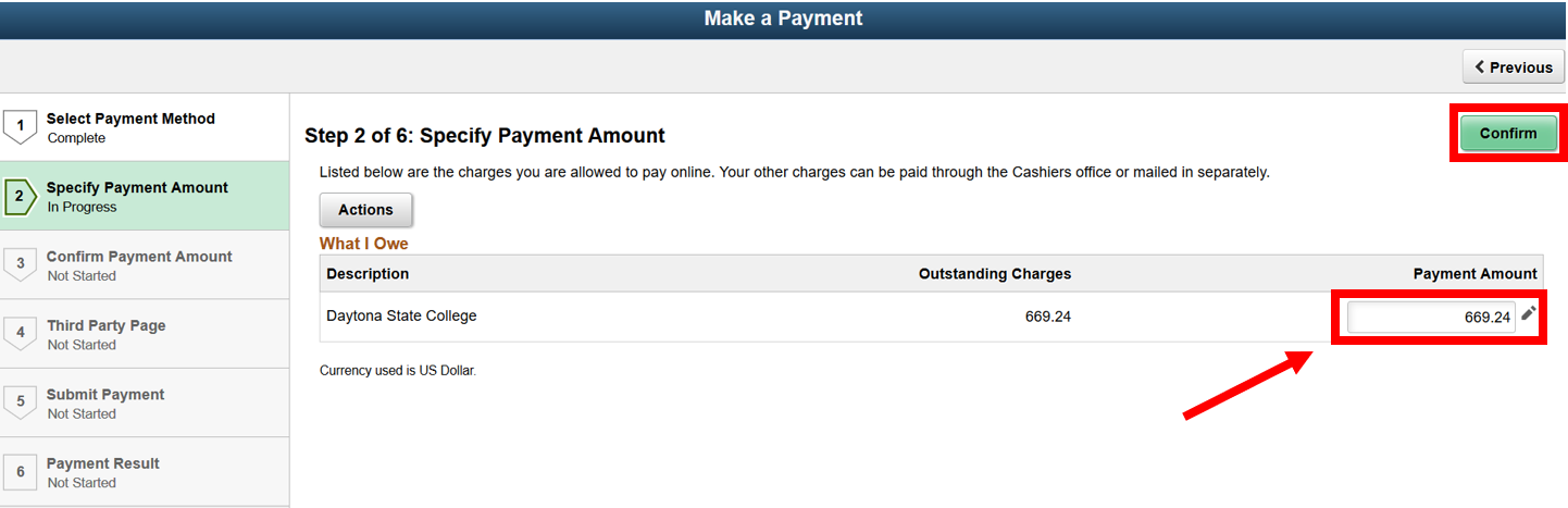 Payment amount screen with the Payment Amount field highlighted