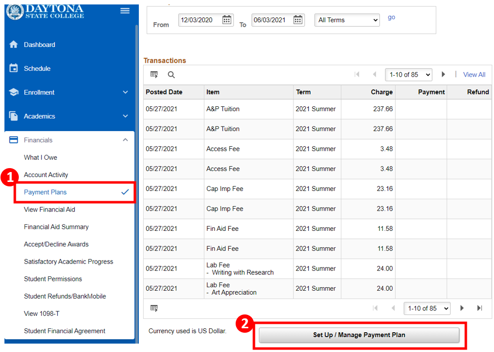 Accounts Activity screen with the Set Up / Management Payment Plan button highlighted