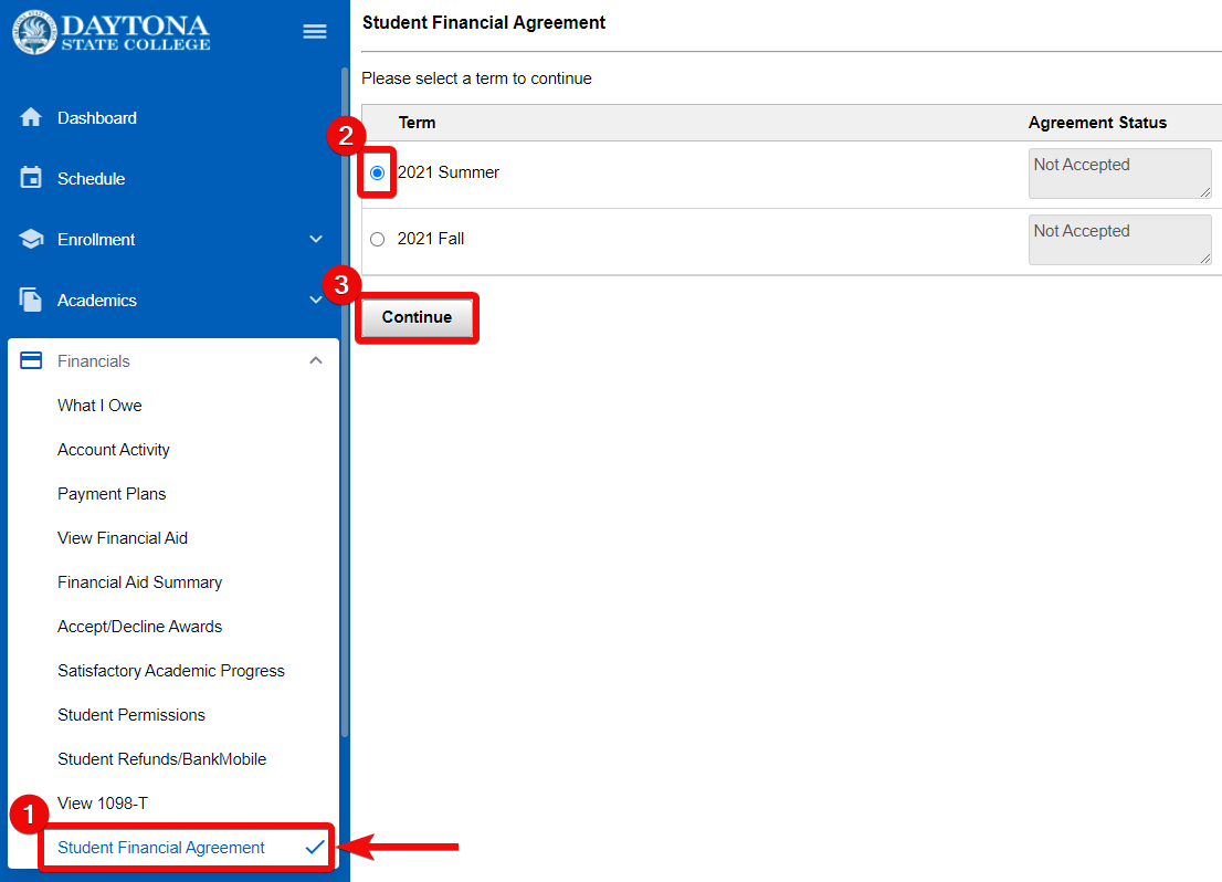 Student financial agreement screen showing how to select the term and continue button highlighted