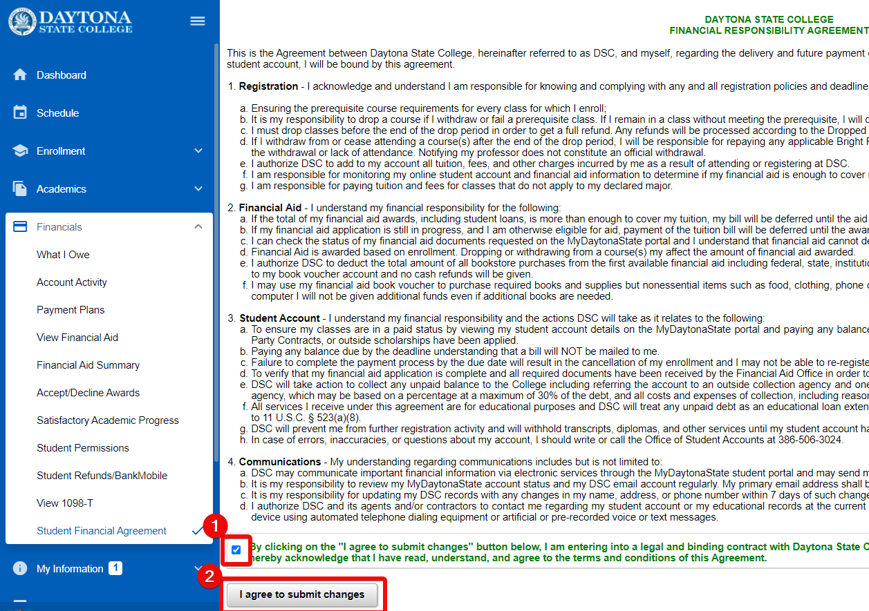 Financial aid agreement screen with acceptance checkbox and I agree button highlighted