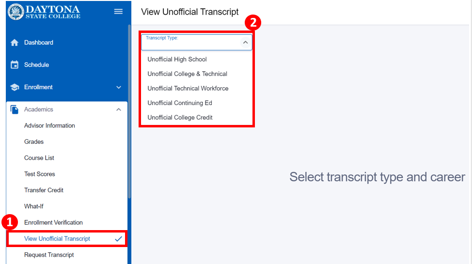View unofficial transcript screen with list of transcript types highlighted