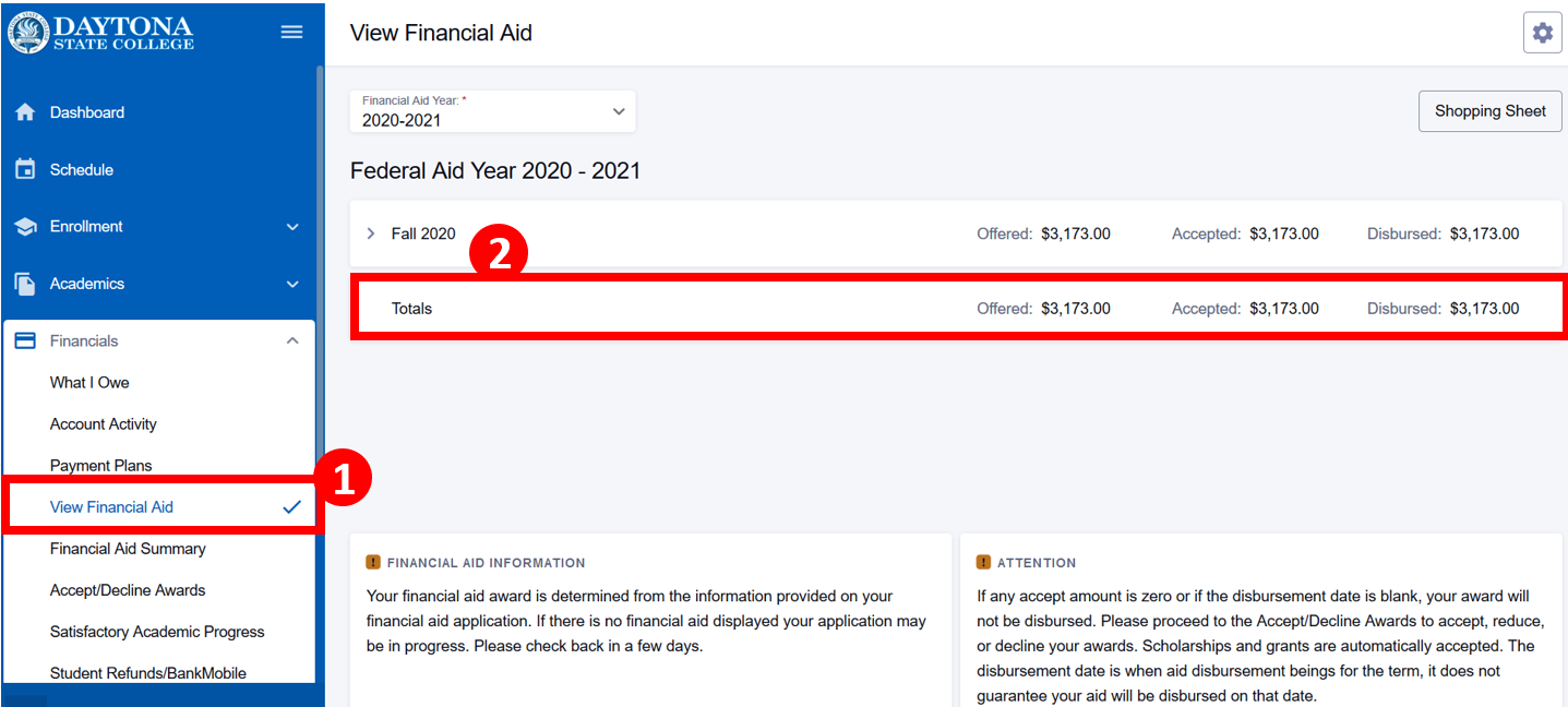 Financial aid screen with total award highlighted