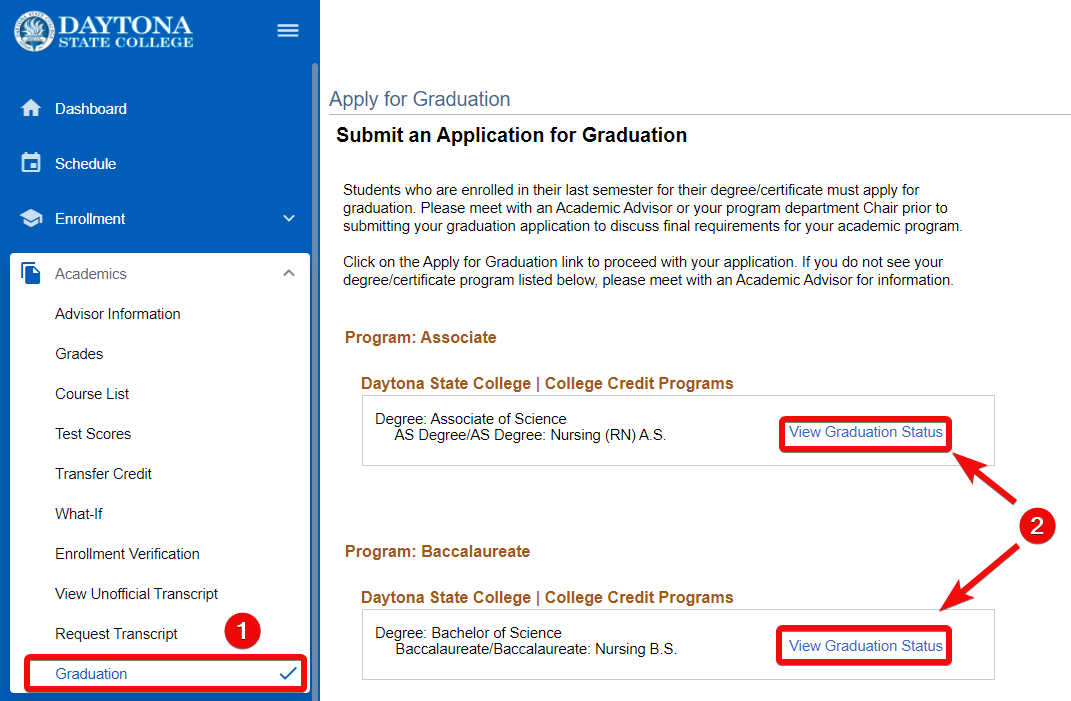 Apply for graduation screen with view Graduation Status highlighted