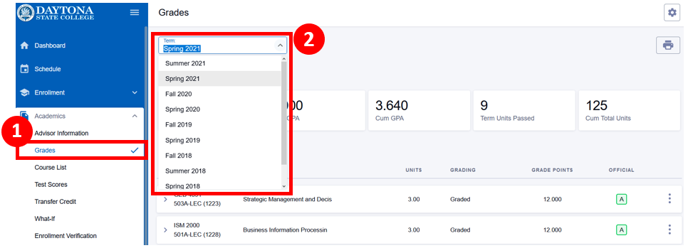 View grades screen with the term selector highlighted